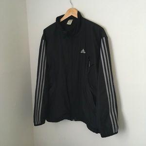 Black and grey 3 stripe adidas windbreaker jacket